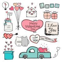 Feliz Dia dos namorados. Conjunto de etiquetas de dia dos namorados Doodle e elementos de tipografia.