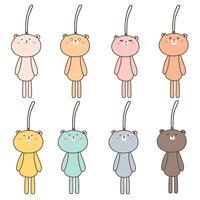 Conjunto de mão desenhada Cute Bear Keychain.