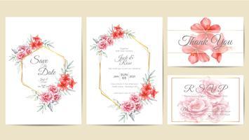Moldura dourada do molde floral do convite do casamento da aquarela. Rosas de desenho de mão e flor de hibisco com ramos salvar a data, saudação, obrigado e cartões de RSVP Multipurpose