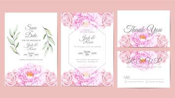 Bela aquarela Floral casamento convite cartões modelo. Flor e ramos salvar a data, saudação, obrigado e cartões de RSVP multiuso vetor