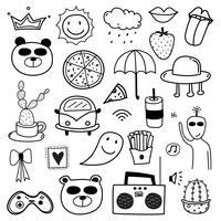 Mão desenhada Doodle adorável Vector Set. Doodle engraçado conjunto. Ilustração vetorial artesanal.