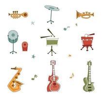Pacote de vetores de instrumento Musical retrô