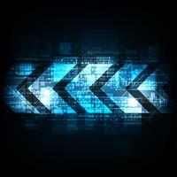 Seta no conceito da tecnologia em uma obscuridade - fundo azul.