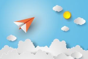 avião de papel no céu azul vetor
