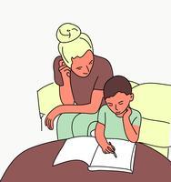 mão desenhada mãe com criança plana pop art design ilustração vetorial de estilo