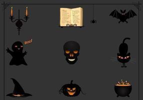 Pacote de vetor de ícone preto Halloween