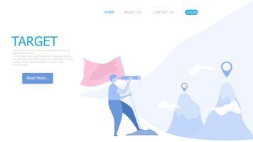 homem, usando, telescópio, e, bandeira vermelha, busca, para, alvo vetor