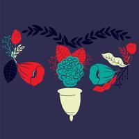 copo menstrual das mulheres com as flores no estilo handdrawn. Lettering-Eu amo meu copo