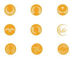 ícones de modelo de logotipo e símbolos de refeição de arroz de agricultura vetor