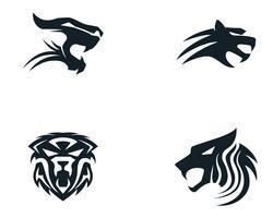 Mascote de logotipo de cabeça de tigre em fundo branco vetor