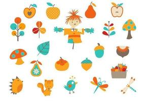 Pacote de elementos do vetor de outono dos desenhos animados