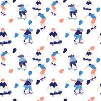 Skatista elegante em jeans e tênis. Skate. Ilustração vetorial para um cartão postal ou um cartaz, imprimir para a roupa. Culturas de rua.