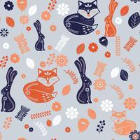 Padrão de arte folclórica escandinava com coelhos, raposa e flores vetor