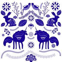 Unicórnios mágicos bonitos em um fundo floral. Vetorial, romanticos, mão, desenho, ilustração