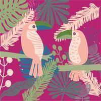 mão desenhada Tropical folha sem costura padrão vector
