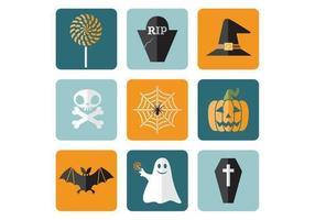 Plana, dia das bruxas, vetorial, ícones