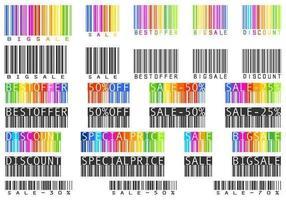 Pacote de vetores de código de barras de venda