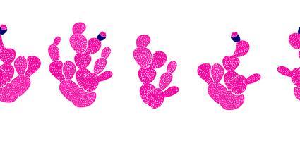 Teste padrão sem emenda decorativo desenhado mão com cactos. em estilo escandinavo. Design tropical moderno para têxteis