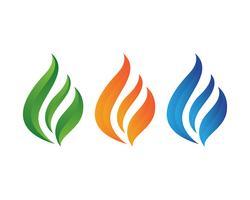 Logotipo da natureza da chama do fogo e molde dos ícones dos símbolos