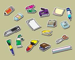 ícones de etiqueta de papelaria de escritório vetor
