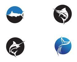 Marlin jump fish logo e ícone de símbolos vetor