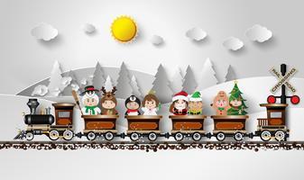Crianças no vestido extravagante Sentado no trem