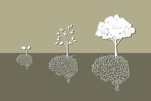 Planta jovem com raiz cerebral, vetor