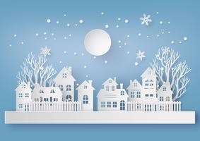 Paisagem de campo urbano de neve de inverno