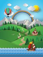 Barco à vela e nuvem com arco-íris.