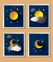 Tempo de papel abstrato com a lua ao anoitecer. vetor