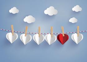 forma de coração de papel pendurado no lope