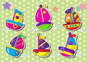 conjunto de adesivo de estilo de desenho animado sailboat.vector.