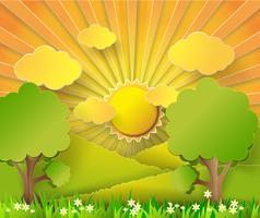 Nascer do sol da ilustração do vetor sobre os campos.