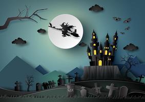 Festa de Halloween, corte de papel vetor