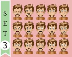 coleção de cara de emoção de desenho de vetor