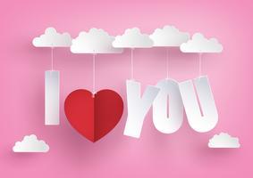 Conceito de amor e dia dos namorados, mensagem pendurar no céu