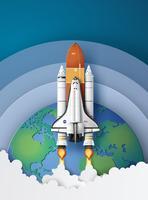 Ônibus espacial decolando em uma missão