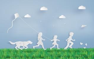 crianças correndo campo vetor