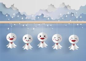 Boneca de papel japonesa contra chuva vetor