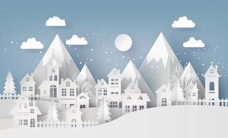 Inverno neve paisagem urbana paisagem cidade vila com ful lmoon vetor