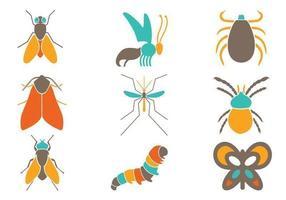 Pacote de vetores de insetos coloridos