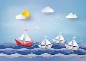 barco à vela de papel