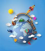 Vetorial, ilustração, de, viagem, transporte vetor