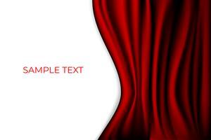 Fundo de fase vermelho da cena do teatro da cortina. Pano de fundo com veludo de seda de luxo. Copyspace Branco.