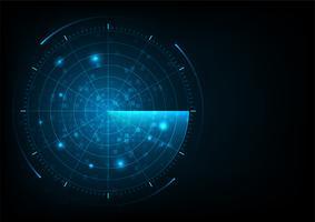 Radar de vetor realista azul digital. Pesquisa aérea. Sistema de busca militar.