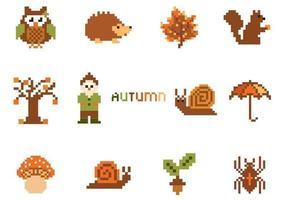 Pacote de elementos de vetor de outono de pixel