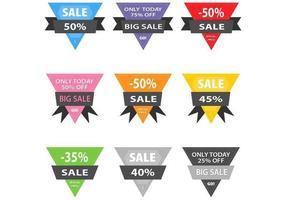 Pacote de vetores de distintivo de venda de triângulo costurado