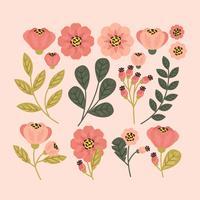 Flores e ramos de vetor