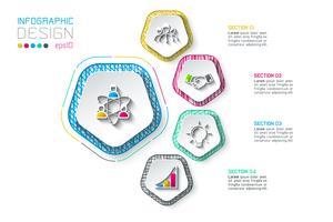 Pentágonos rótulo infográfico com 5 etapas. vetor