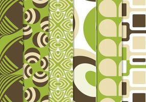 Pacote de padrão de funky vector retrô verde